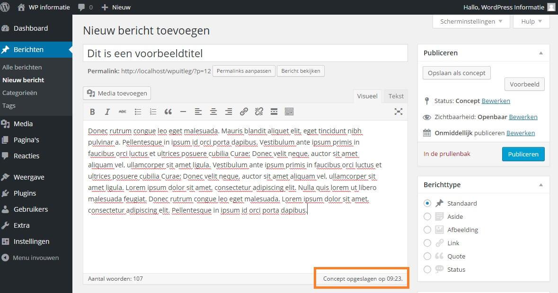 Uitleg over de autosave functie in WordPress