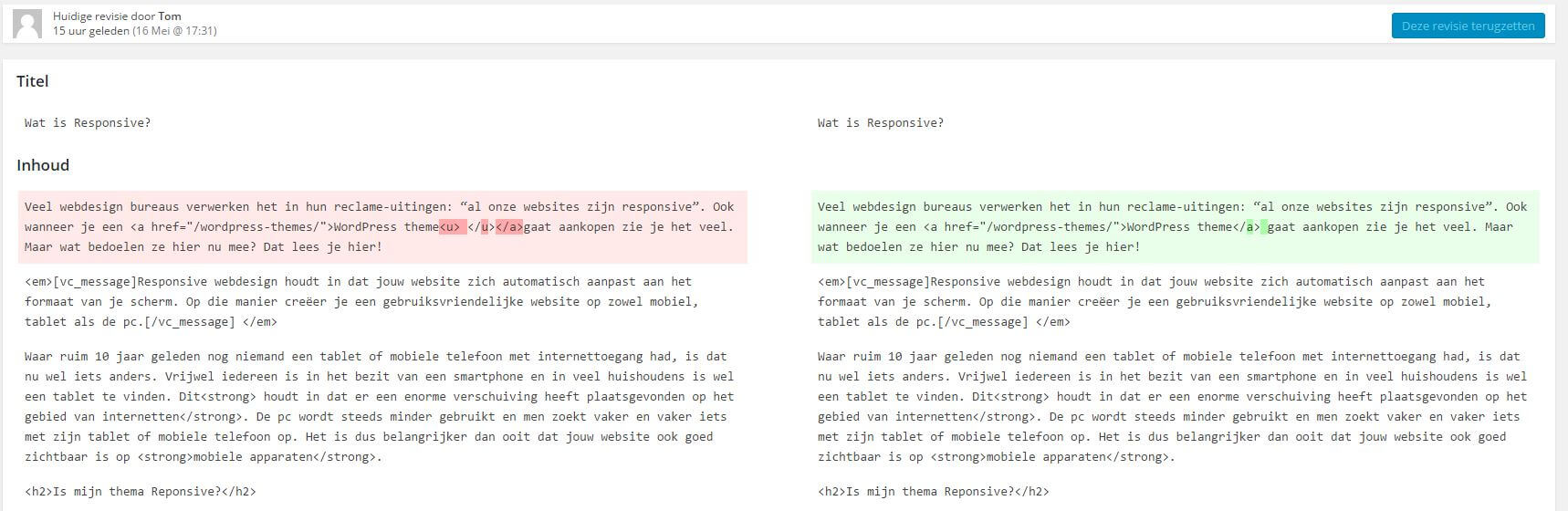 Wordpress revisie terugzetten