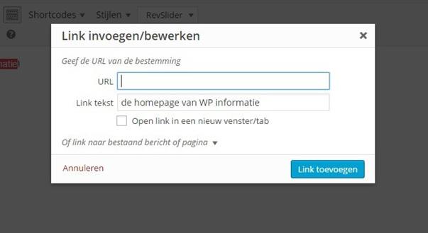 Link toevoegen WordPress